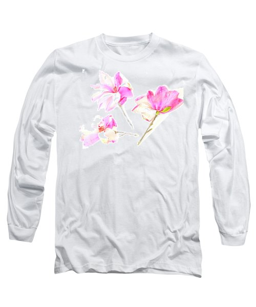 Three Magnolia Flowers Long Sleeve T-Shirt by Linde Townsend
