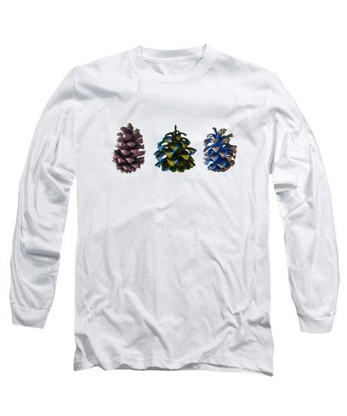 Three Pine Cones Long Sleeve T-Shirt by Stan  Magnan