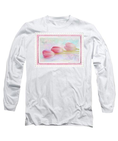 Three Pink Tulips Long Sleeve T-Shirt