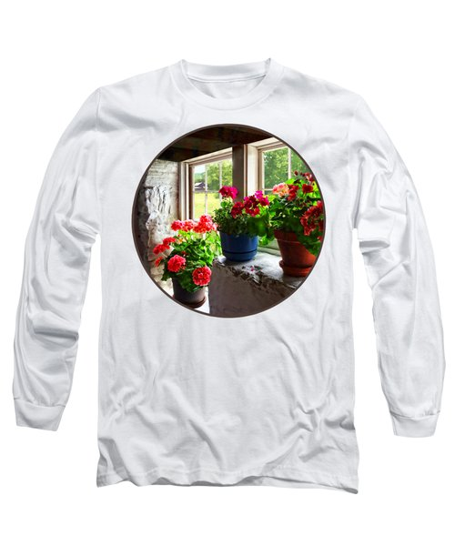 Three Pots Of Geraniums On Windowsill Long Sleeve T-Shirt