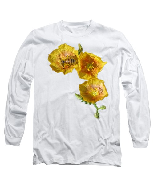 Three Yellow Flowers With A Bee Long Sleeve T-Shirt by Linda Phelps