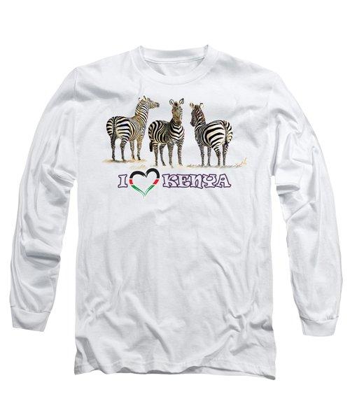 Three Zebras In Kenya Long Sleeve T-Shirt