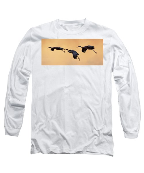 Long Sleeve T-Shirt featuring the pyrography Three's Comapany by Michael Lucarelli