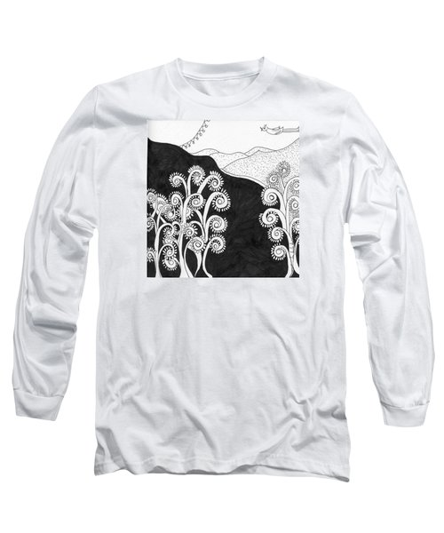 Long Sleeve T-Shirt featuring the painting Through The Woods by Lou Belcher