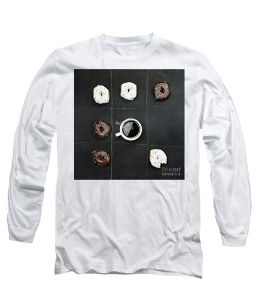 Tic Tac Toe Donuts And Coffee Long Sleeve T-Shirt by Stephanie Frey