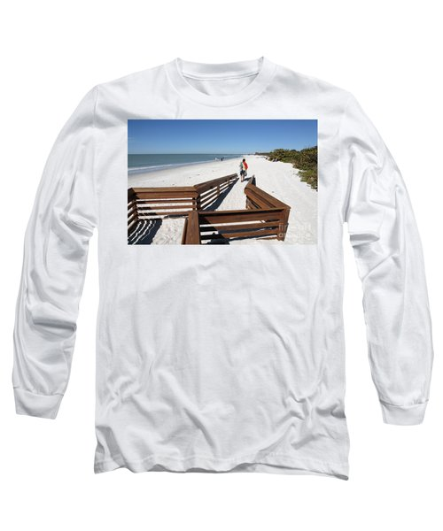 Tide Of Sand Over A Ramp On The Beach In Naples Florida Long Sleeve T-Shirt