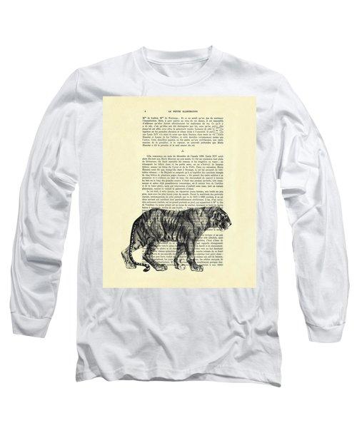 Tiger Black And White Illustration Long Sleeve T-Shirt
