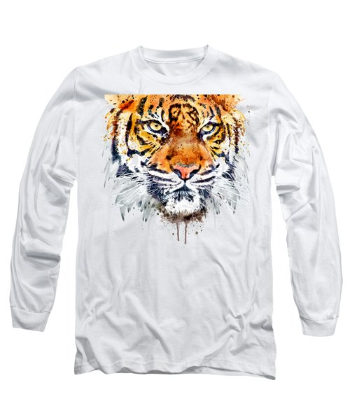 Long Sleeve T-Shirt featuring the mixed media Tiger Face Close-up by Marian Voicu