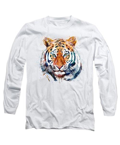 Tiger Head Watercolor Long Sleeve T-Shirt
