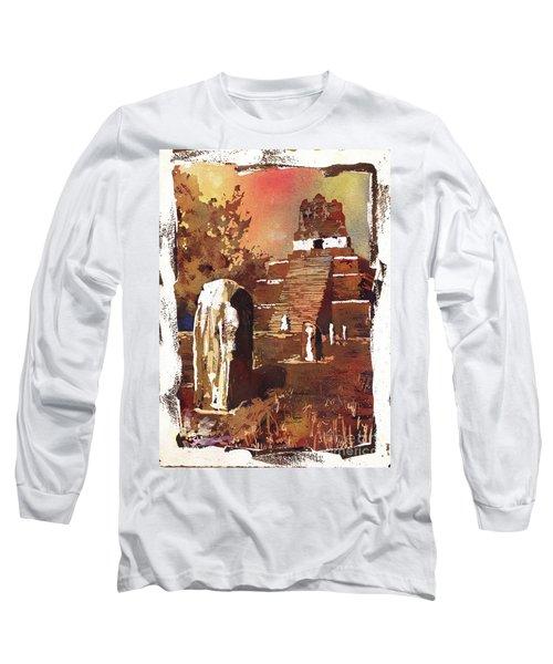 Long Sleeve T-Shirt featuring the painting Tikal Mayan Ruins- Guatemala by Ryan Fox