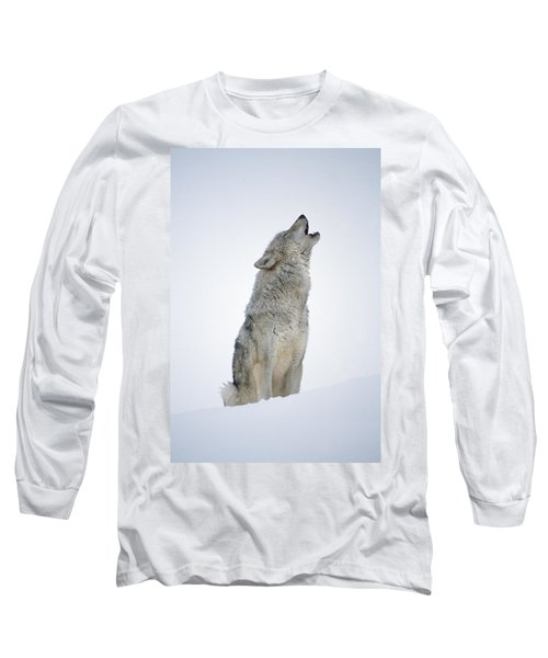 Timber Wolf Portrait Howling In Snow Long Sleeve T-Shirt