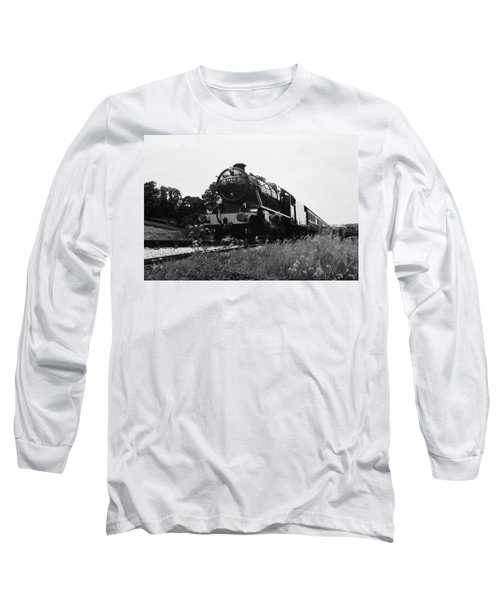 Long Sleeve T-Shirt featuring the photograph Time Travel By Steam B/w by Martin Howard