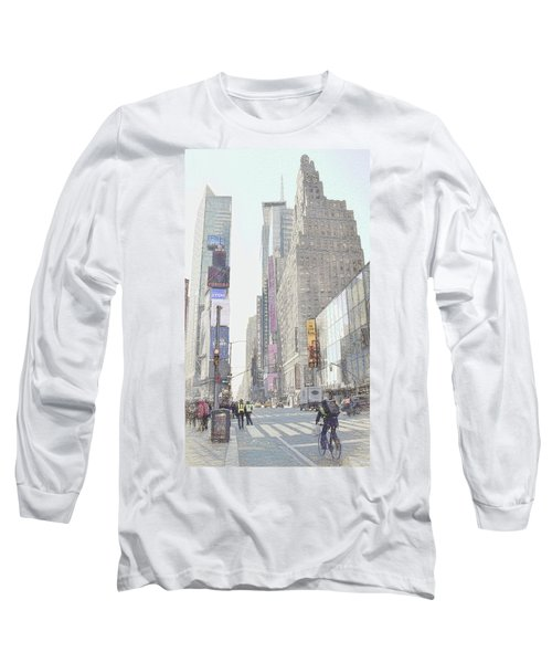 Times Square Street Scene Long Sleeve T-Shirt by Dyle Warren