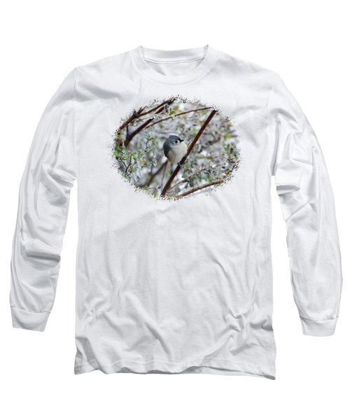 Titmouse On Snowy Branch Long Sleeve T-Shirt