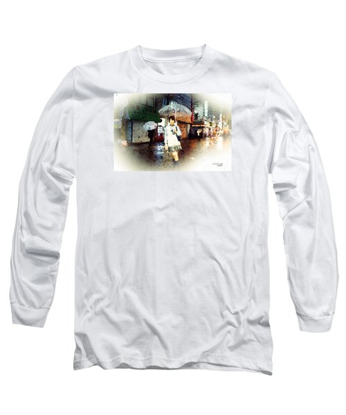 Long Sleeve T-Shirt featuring the painting Rainytokyo Night by Chris Armytage