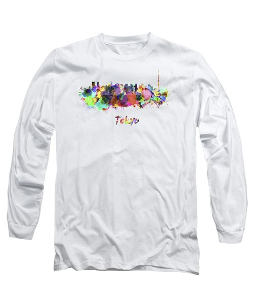 Tokyo V2 Skyline In Watercolor Long Sleeve T-Shirt by Pablo Romero