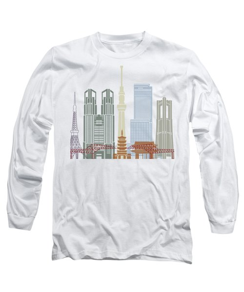 Tokyo V2 Skyline Poster Long Sleeve T-Shirt by Pablo Romero