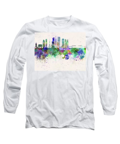 Tokyo V3 Skyline In Watercolor Background Long Sleeve T-Shirt by Pablo Romero