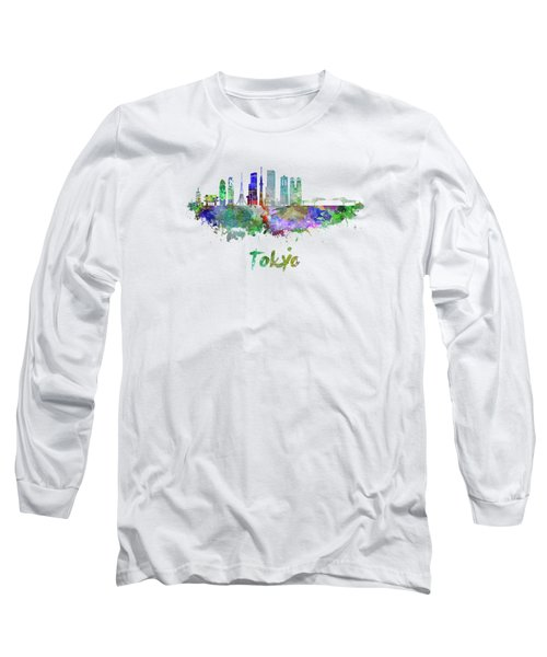 Tokyo V3 Skyline In Watercolor Long Sleeve T-Shirt by Pablo Romero