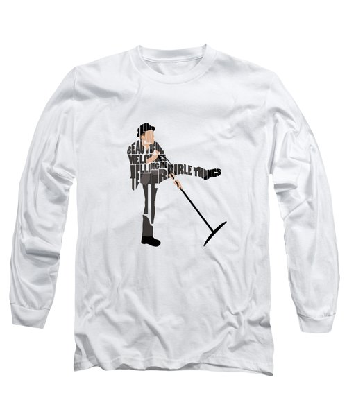 Long Sleeve T-Shirt featuring the digital art Tom Waits Typography Art by Inspirowl Design