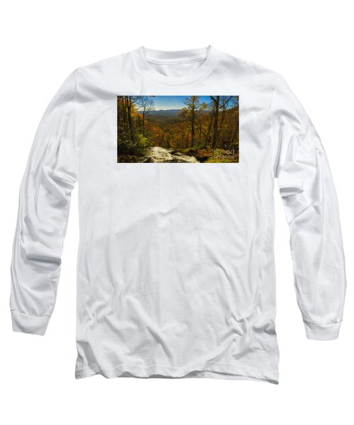 Top Of Amicola Falls Long Sleeve T-Shirt by Barbara Bowen