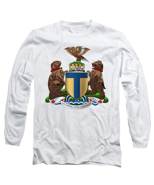 Toronto - Coat Of Arms Over White Leather  Long Sleeve T-Shirt