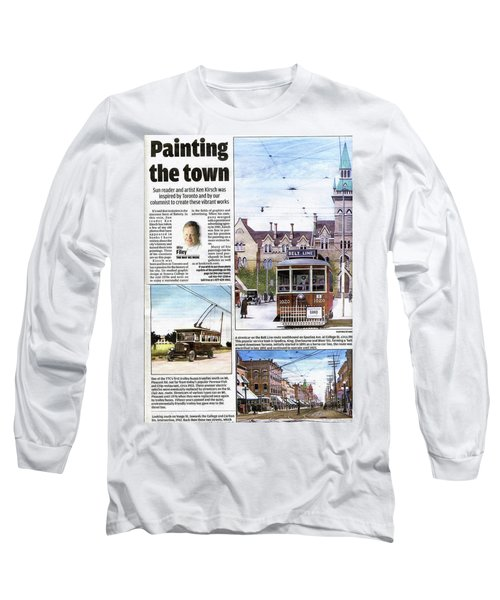Long Sleeve T-Shirt featuring the painting Toronto Sun Article Painting The Town by Kenneth M Kirsch