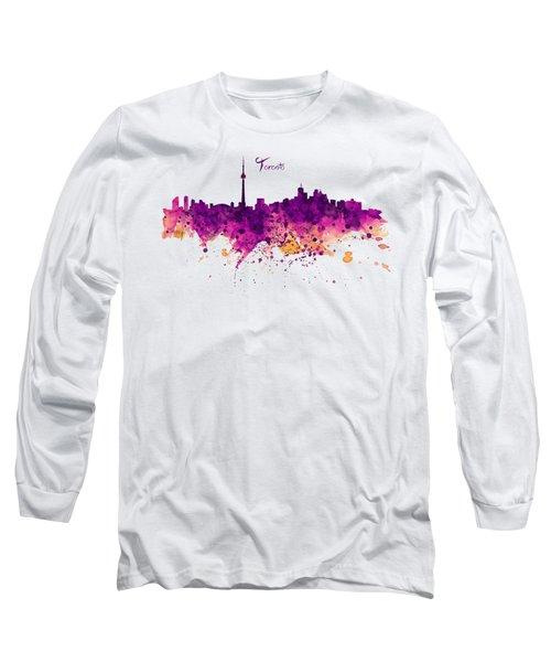 Toronto Watercolor Skyline Long Sleeve T-Shirt