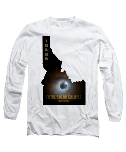 Total Solar Eclipse In Idaho Map Outline Long Sleeve T-Shirt