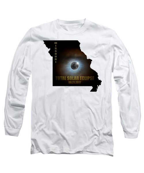 Total Solar Eclipse In Missouri Map Outline Long Sleeve T-Shirt