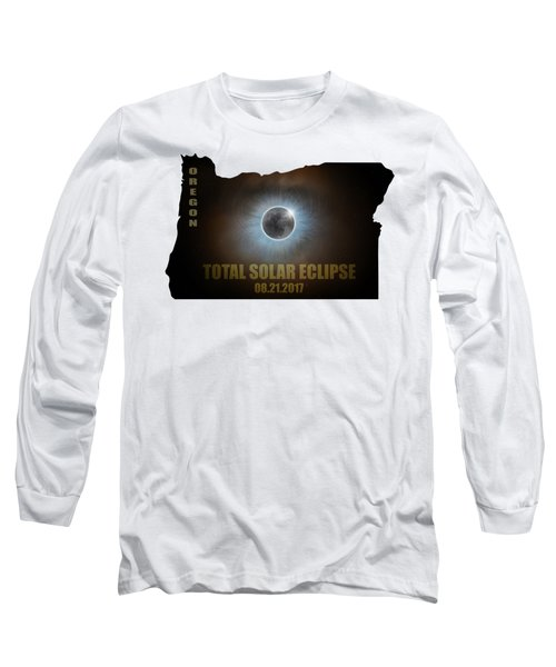 Total Solar Eclipse In Oregon Map Outline Long Sleeve T-Shirt