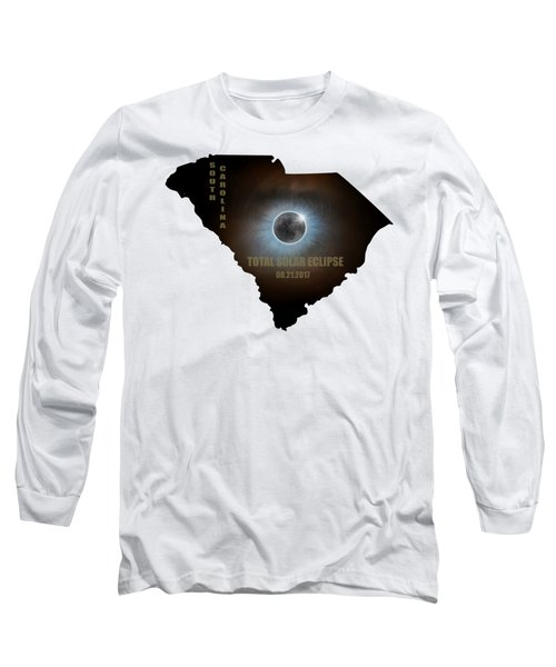 Total Solar Eclipse In South Carolina Map Outline Long Sleeve T-Shirt