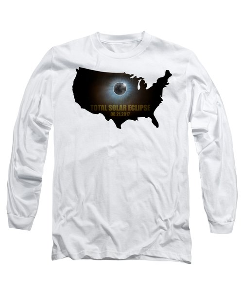 Total Solar Eclipse In United States Map Outline Long Sleeve T-Shirt