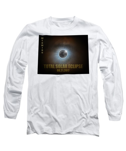 Total Solar Eclipse In Wyoming Map Outline Long Sleeve T-Shirt