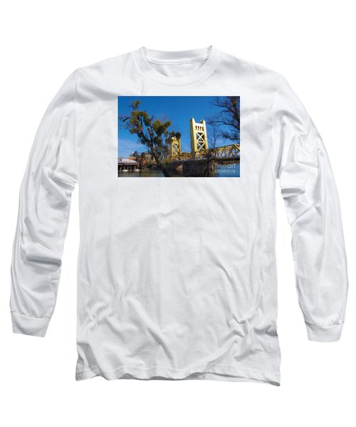 Tower Bridge Old Sacramento Long Sleeve T-Shirt by Debra Thompson