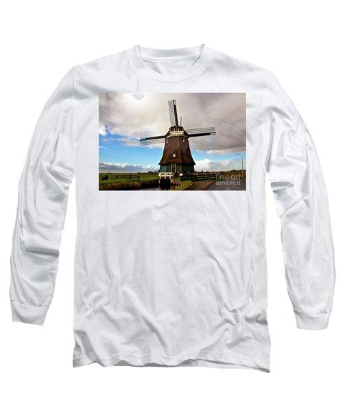 Traditional Dutch Windmill Near Volendam  Long Sleeve T-Shirt