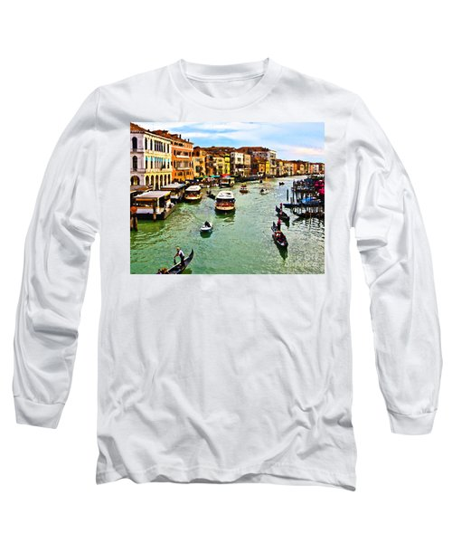 Long Sleeve T-Shirt featuring the photograph Traghetto, Vaporetto, Gondola  by Tom Cameron