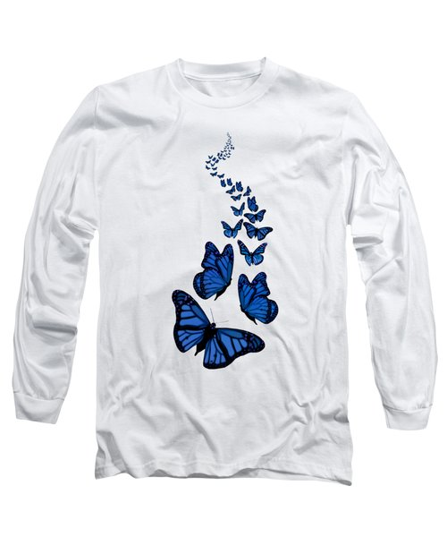 Trail Of The Blue Butterflies Transparent Background Long Sleeve T-Shirt by Barbara St Jean