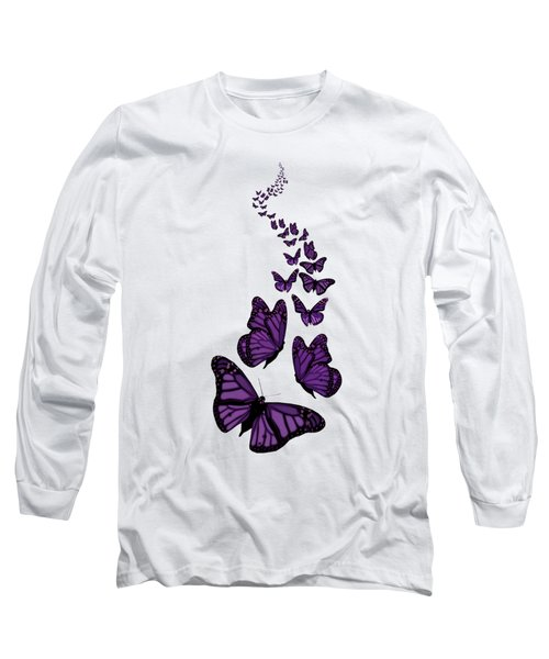 Trail Of The Purple Butterflies Transparent Background Long Sleeve T-Shirt