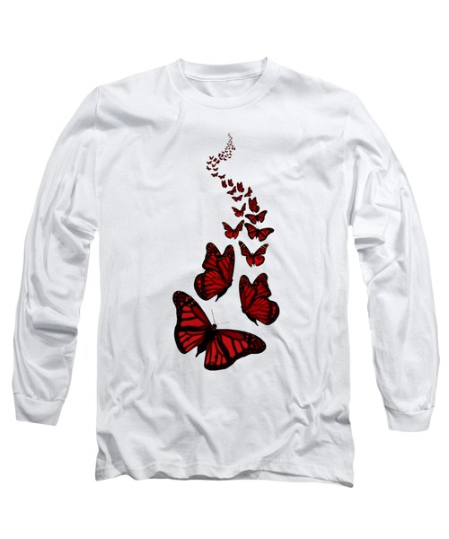 Trail Of The Red Butterflies Transparent Background  Long Sleeve T-Shirt