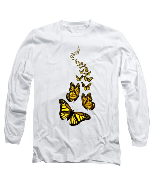 Trail Of The Yellow Butterflies Transparent Background Long Sleeve T-Shirt by Barbara St Jean
