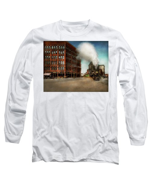 Long Sleeve T-Shirt featuring the photograph Train - Respect The Train 1905 by Mike Savad