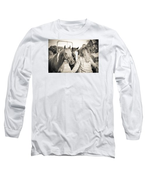 Long Sleeve T-Shirt featuring the photograph Training The Horses In Sepia by Kelly Hazel