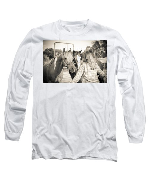 Training The Horses In Sepia Long Sleeve T-Shirt