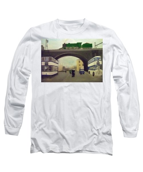 1950s Tram, Locomotive, Bus And Cars In Sheffield  Long Sleeve T-Shirt
