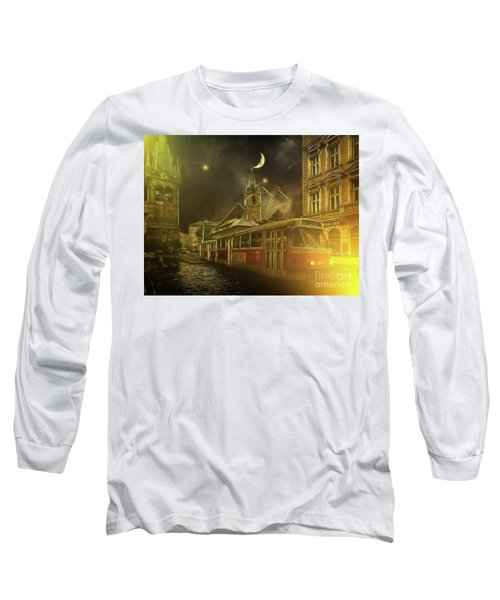 Long Sleeve T-Shirt featuring the photograph Tramatic - Prague Street Scene by Leigh Kemp