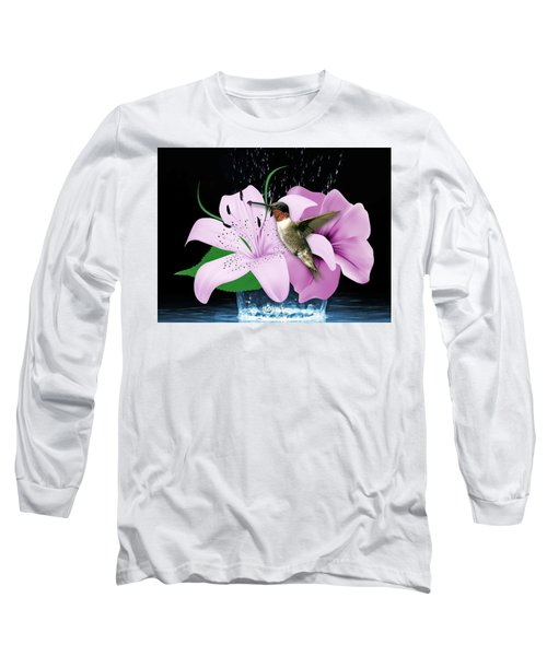 Long Sleeve T-Shirt featuring the mixed media Transport Hummingbird by Marvin Blaine