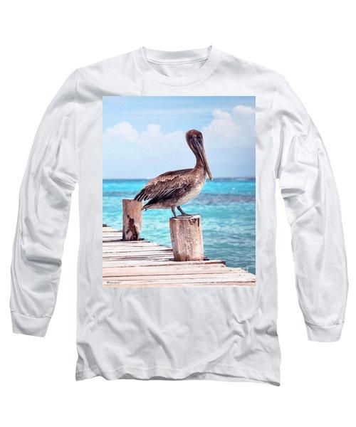 Treasure Coast Pelican Pier Seascape C1 Long Sleeve T-Shirt