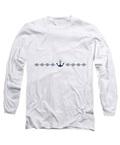 Treasure Knot And Anchor In Blue Long Sleeve T-Shirt