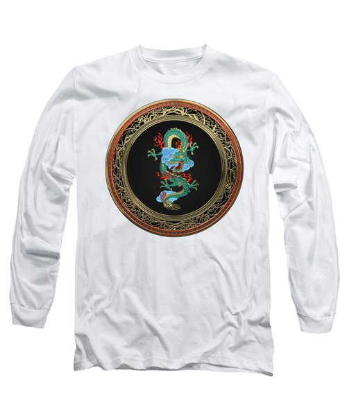 Treasure Trove - Turquoise Dragon Over White Leather Long Sleeve T-Shirt